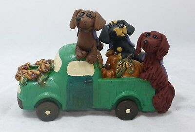 Trucking Doxies Dachshunds Fall Autumn Truckload of Pups w Pumpkin Wreath Decor