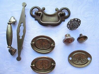 Vintage LOT of (8) Solid Brass drawer pulls knobs handles