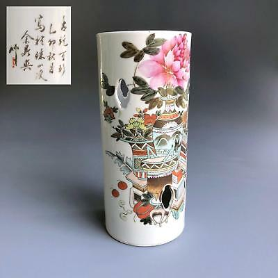 antique QIANJIANG CAI HAT STAND VASE dated 1915 Chinese Porcelain CALLIGRAPHY