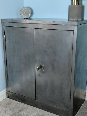 Beautiful Stripped Waxed Metal Vintage Industrial Cabinet Lovely cupboard Unit