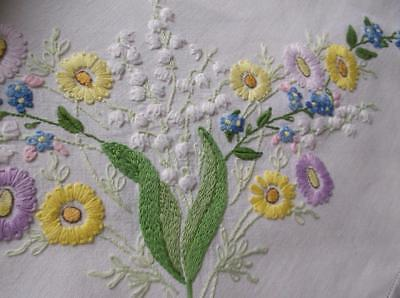 ~ Vintage Tablecloth~ Delightful Floral Emb.~