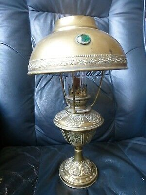 Antique French Arts and Crafts brass Oil Lamp and matching brass Jeweled Shade