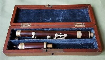 Nice Antique Wooden Piccolo/Flute in Case, IMPROVED LONDON F