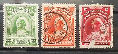 British Colonies - Niger Coast 1894 Lot Of 3 Used Rare Stamps