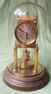 High quality antique Anniversary Clock by Gustav Becker (BHA) with Glass Dome