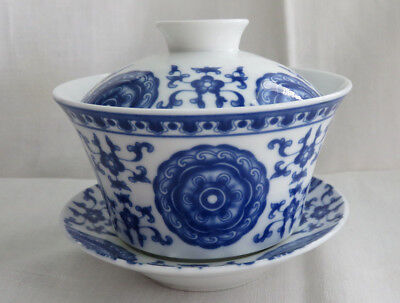 Very Fine Vintage Chinese Blue And White Porcelain Bowl With Lid & Saucer