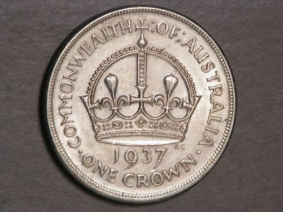 AUSTRALIA 1937 1 Crown Silver VF-XF