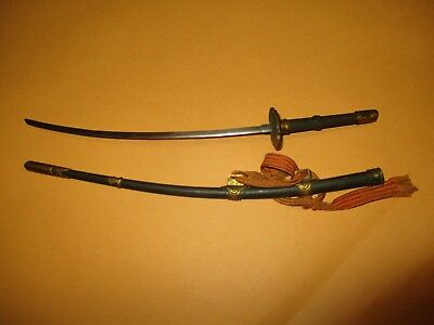 "WW2 Era miniature Japanese Sword w. scabbard mrked Kyoto Tanakaya 10 3/4"" long"