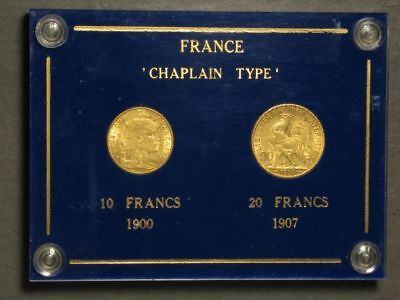 FRANCE 1900-1907 10-20 Francs 'Chaplain Type' GOLD  Set in Lucite Holder XF-AU