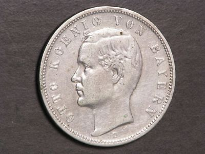 GERMANY-BAVARIA 1894D 5 Mark Silver Crown VF