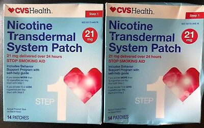 CVS Nicotine Transdermal Step 1 Patch 21mg 28 Patches Total Expires 9/18+