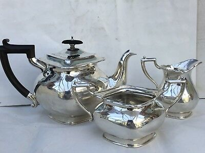 Excellent Antique Solid Silver 3-piece Tea Set, 1907 - 883gms.