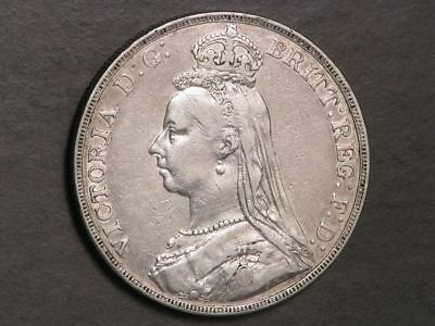 GREAT BRITAIN 1889 1 Crown Victoria Silver VF-XF