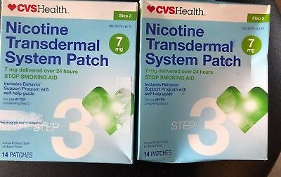 Cvs Nicotine Transdermal System Patch 28 Patches 7 Mg Step 3 Exp 09/2018+