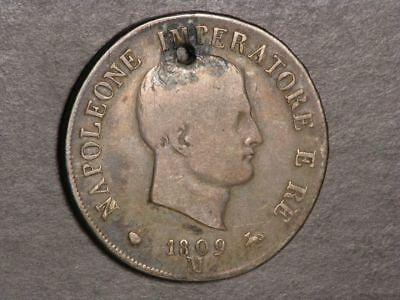 ITALY-KINGDOM OF NAPOLEON 1809M 5 Lire Silver Crown Fine