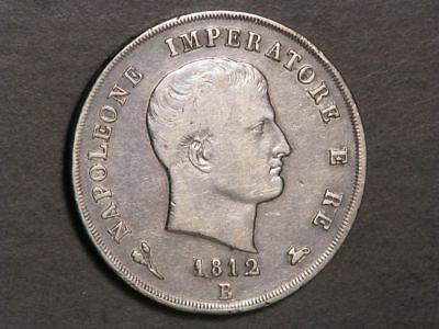 ITALY-KINGDOM OF NAPOLEON 1812B 5 Lire Silver Crown F-VF