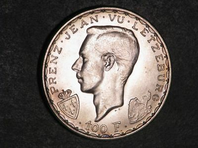 LUXEMBOURG 1946 100 Francs John the Blind Silver Crown BU