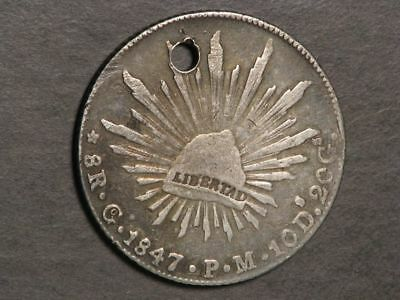 MEXICO 1847GoPM 8 Reales Silver Crown F-VF