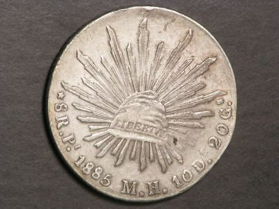 MEXICO 1885PiMH 8 Reales Silver Crown VF-XF