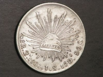 MEXICO 1886ZsJS 8 Reales Silver Crown XF