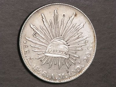 MEXICO 1896MoAM 8 Reales Silver Crown XF - Chopmarks