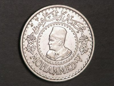 MOROCCO 1956(AH1376) 500 Francs Silver Crown XF