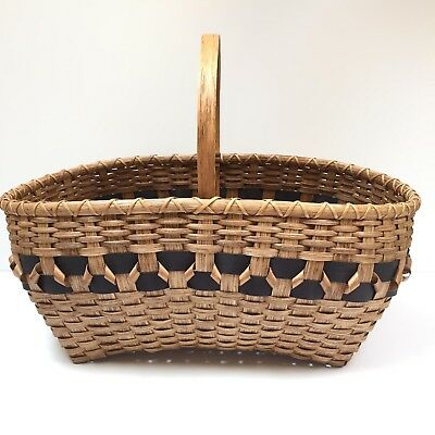 Hand woven handmade basket signed by artist Pam Talsky 2008 LARGE weaving easter
