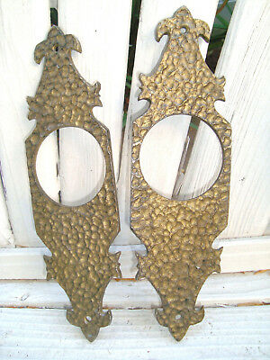 (2) PAIR VTG ANTIQUE GILT MEDIEVAL ARTS & CRAFTS HAMMERED DOOR BACKPLATE Salvage