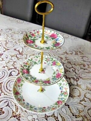 """3 Tier Cake Stand - Staffordshire Crown  """"thousand Flowers"""""""