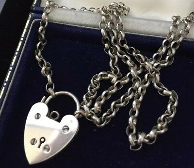vintage Jewellery Super sterling silver long chain with heart padlock clasp