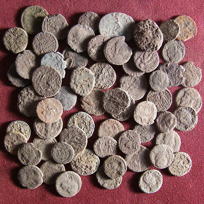 Lot of 60 Uncleaned Late Roman Bronze Coin