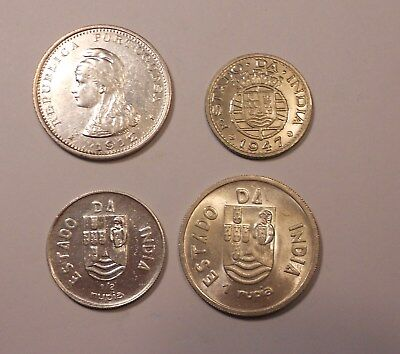 portugal lot of 4 silver portuguese India coins - excelent lot!!!!!!!!!!!!!!!!!!