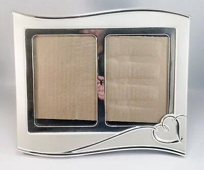 """Lenox Forevermore Silverplated Invitation Double Photo Frame, 5"""" x 7"""", Used"""