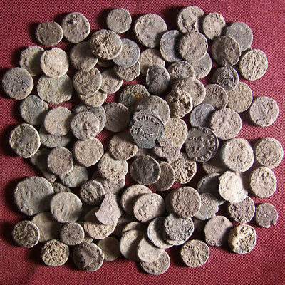 Lot of 100 Uncleaned Late Roman Bronze Coin  - JUNK #4