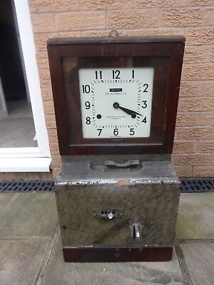 old wooden Time Recorder Clocking in Clock Machine for spares or repair    lot 1