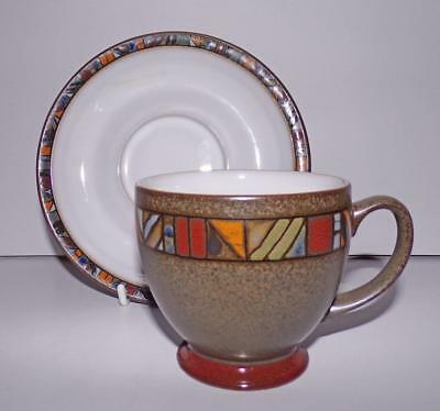 Denby Pottery Marrakesh Pattern Tea Cup & Saucer made in Stoneware