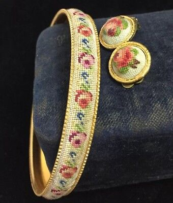 vintage jewellery lovely petit point tapestry bangle & matching earrings - clips