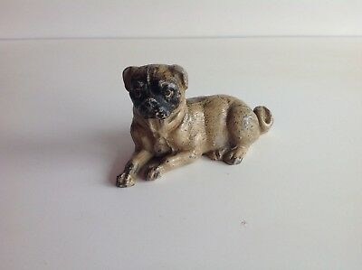 A 19th/20th century  cold painted figure of a pug dog(not bronze)