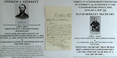 CIVIL WAR ERA ERIE COUNTY PA COMMISSIONER POLITICIAN LETTER SIGNED To GENERAL VF