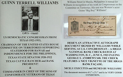 Congressman Texas Cattle Rancher Sons Confederate Veterans Document Signed Check