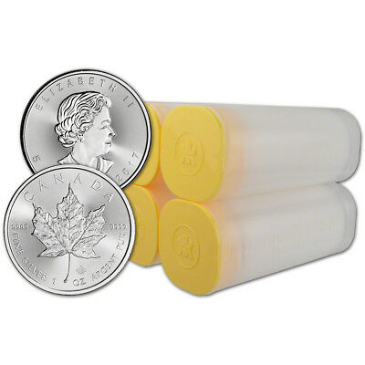 2017 Canada Silver Maple Leaf - 1 oz - $5 - 4 Rolls - 100 Coins in 4 Mint Tubes