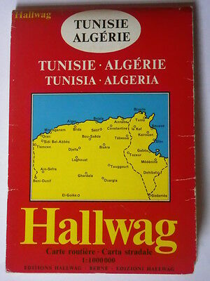 Vintage Map of Tunisia published by Hallwag 1974