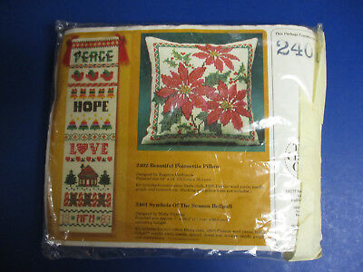 The Creative Circle Symbols of the Season Bell Pull Kit Opened Needlepoint