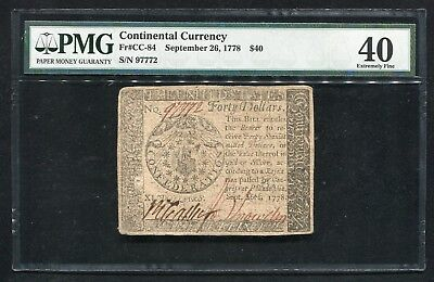 Cc-84 September 26, 1778 $40 Fourty Dollars Continental Currency Pmg Ef-40