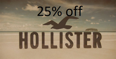 25% HOLLISTER Coupon code 25% exp 9/30 Valid Clearance Sale