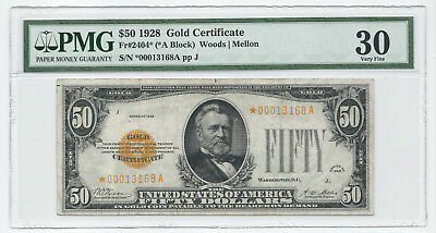 1928 $50 Fr2404* Star Note PMG Very Fine VF 30 Gold Certificate *00013168A RARE