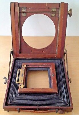 Vintage Plate Camera Replacement Bellows + Mahogany Blind Shutter