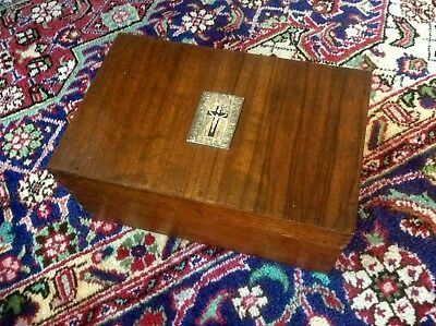Antique Vintage Church Writing Box,Station Cross Plaque,Trinket Jewellery Case,