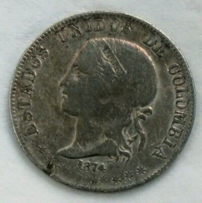 2 décimo 1874 Colombia silver