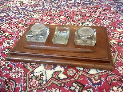 Antique Victorian Desktop Writing Stand,Glass Inkwell,Large Mahogany Base,